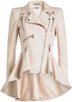 Alexander McQueen Leather Jacket with Peplum