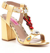 Betsey Johnson Axel T-Strap Embellished Microsuede Sandals