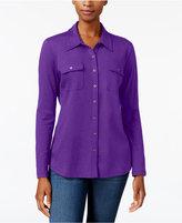 Karen Scott Button-Front Shirt, Created for Macy's