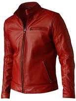 LJS Elegant Men's Moto Racer Red Leather Biker Jacket