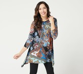 Women With Control Attitudes by Renee Como Jersey Bateau Neck Printed Tunic