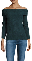 Free People Knit Cable Cotton Foldover Sweater
