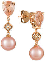 LeVian Le Vian® Peach MorganiteTM (1-1/2 ct. t.w.), Pink Cultured Freshwater Pearl (9mm), and Diamond Accent Drop Earrings in 14k Rose Gold