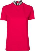 Versus branded collar top - women - Cotton/Spandex/Elastane - S