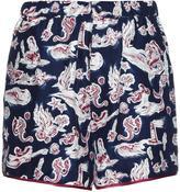 Piamita Bettie mermaid-print silk shorts