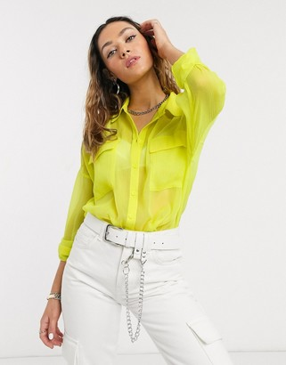 Noisy May oversized sheer shirt in neon yellow