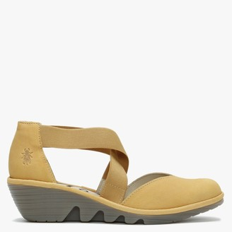 Fly London Paco Bumblebee Leather Elasticated Cross Strap Wedge Shoes
