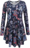 SimpleFun Women's V Neck Long sleeve Flowy Casual Tunic Tops Floral Shirts Loose Blouses (L, )