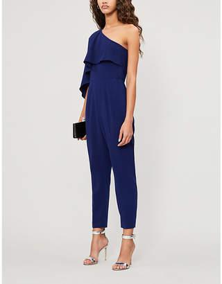 Lavish Alice Asymmetric cape-sleeve crepe jumpsuit