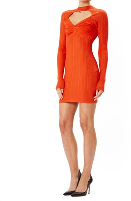 Herve Leger Knit Ribbed Mini Dress W/ Front Cutout