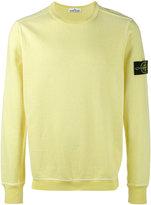 Stone Island Yellow Cotton Fleece Back Crewneck Sweatshirt
