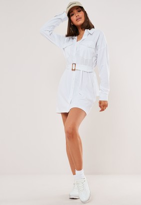 Missguided White Jersey Utility Shirt Dress