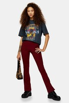 Topshop Womens Petite Burgundy Skinny Ribbed Flare Trousers - Burgundy