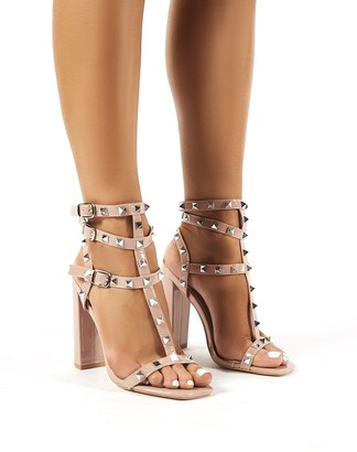 Public Desire Finally Patent Studded Block Heels