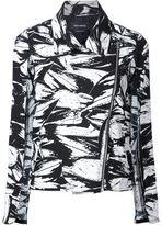 Yigal Azrouel abstract print cape biker jacket