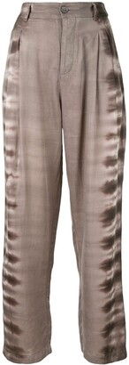 Raquel Allegra Tie-Dye Print Pleated Trousers