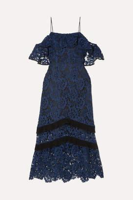 Rachel Zoe Poppy Cold-shoulder Guipure Lace Midi Dress - Navy