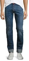 Jacob Cohen Cuffed Denim Slim-Straight Jeans with Multicolor Stitching, Blue