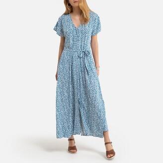Anne Weyburn Floral Midaxi Dress with Tie-Waist Short Sleeves