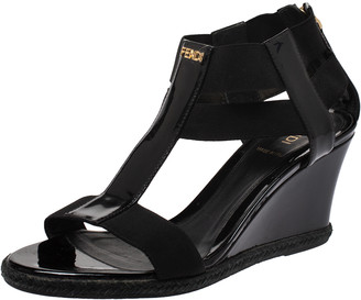 Fendi Black Patent Leather And Elastic Fabric T-Strap Espadrille Wedge Sandals Size 36.5
