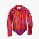 J.Crew Girls' long-sleeve one-piece swimsuit in stripes
