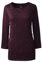 Classic Women's Petite Floral Applique Top-Aged Wine