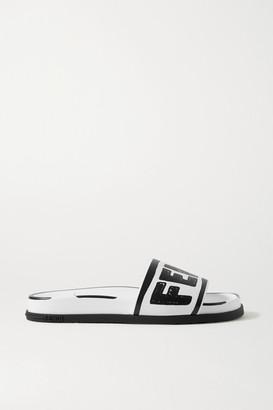 Fendi Logo-print Leather Slides - White