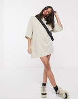Weekday oversized t-shirt dress in beige