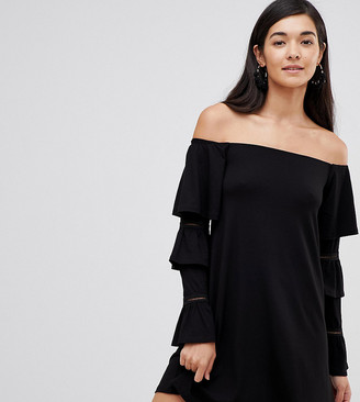 Asos Tall DESIGN Tall off shoulder mini dress with frill sleeve detail-Black