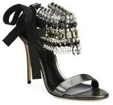 Casadei Jeweled Metallic Leather & Grosgrain Bow Sandals