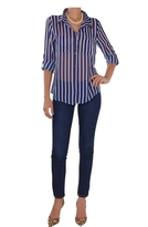 Vertical Stripe Chiffon Blouse