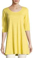 Eileen Fisher Half-Sleeve Linen Jersey Layering Tunic, Plus Size