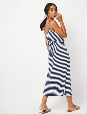 George Navy Striped Jersey Maxi Dress