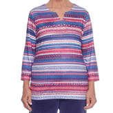Alfred Dunner Royal Jewels Split Crew Neck T-Shirt-Womens