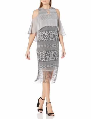 SL Fashions Women's Cold Shoulder Popover Chrochet Dress with Fringe Hem