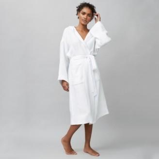 The White Company Heavy Linen Weave Robe, White, S/M