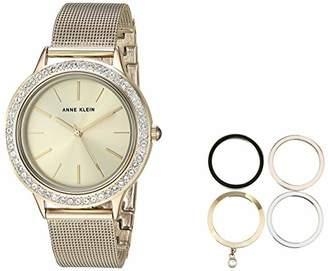 Anne Klein Women's AK/3166GPST -Tone Mesh Bracelet Watch and Interchangeable Bezel Set