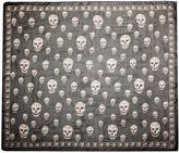 Alexander McQueen Printed Silk Chiffon Skull Scarf in Flannel & Beige