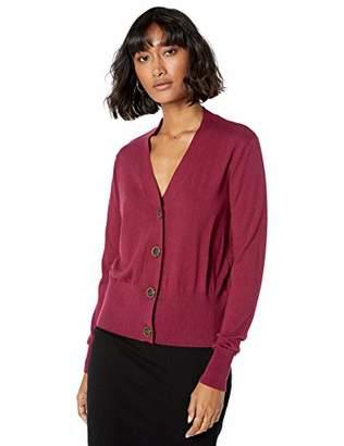 The Drop Women's Daniela Boxy V-Neck Fine Jersey Cardigan Sweater,M