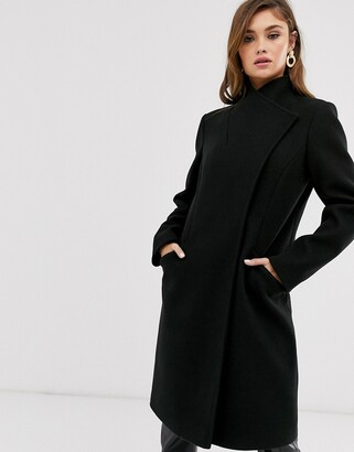 Asos Design DESIGN smart coat with wrap front detail in black