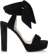 Jimmy Choo KAYTRIN 120 Black Soft Suede Platform Sandals