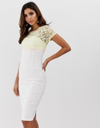 Vesper short sleeve contrast 2 tone pencil dress-Yellow