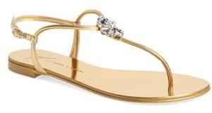 Giuseppe Zanotti Crystal T-Strap Sandal