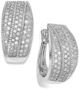Wrapped in LoveTM Diamond Crossover Hoop Earrings in Sterling Silver (1 ct. t.w.), Created for Macy's