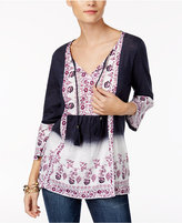 Style&Co. Style & Co Dip-Dyed-Print Peasant Top, Only at Macy's