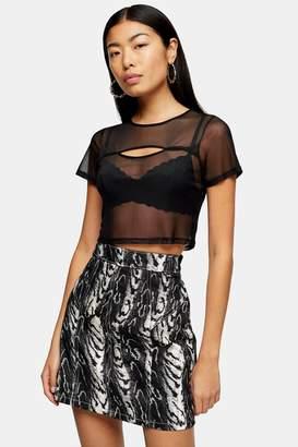 Topshop Womens Short Sleeve Mesh Cut Out Top - Black