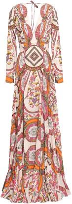 Etro Pleated Printed Crepe De Chine Maxi Dress