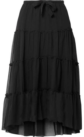 See by Chloe Tiered Cotton And Silk-blend Crepon Midi Skirt - Black