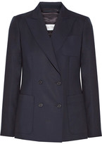 Max Mara Arpa Double-breasted Wool-twill Blazer - Midnight blue