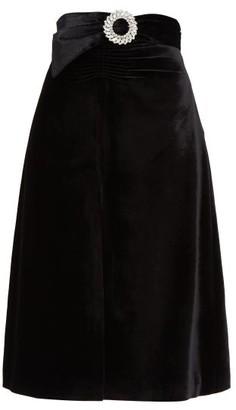 Miu Miu Crystal-buckle Front-slit Velvet Skirt - Black